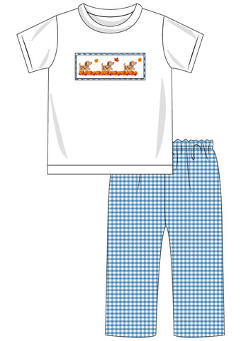Boys Smocked Fall Puppies Pant Set