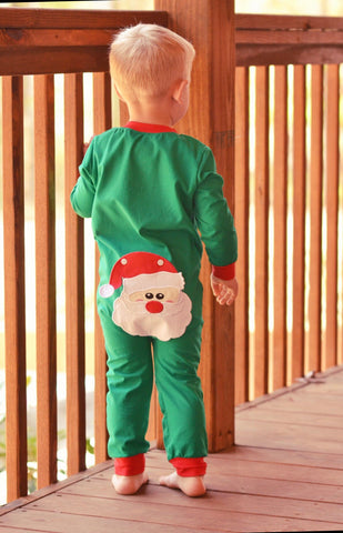 Green Knit Monogrammable Santa Booty Flap PJ's