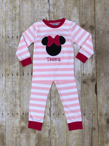 Monogrammable Baby Pink Striped Girl Mouse Pajamas with Hot Pink Cuffs