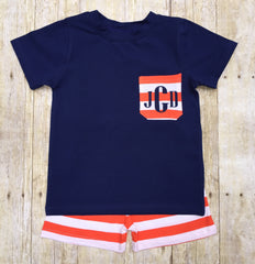 Boys Navy & Orange Striped Knit Shorts Set w/ Monogrammable Pocket, Boys Shorts Sets, The Smocking Bug, The Smocking Bug