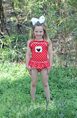 Girls Red Polka Dot Smocked Mouse Ears 1 Piece Swimsuit