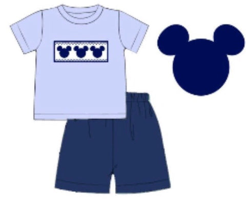 Baby Blue Smocked Mouse Ears T-Shirt & Navy Knit Shorts