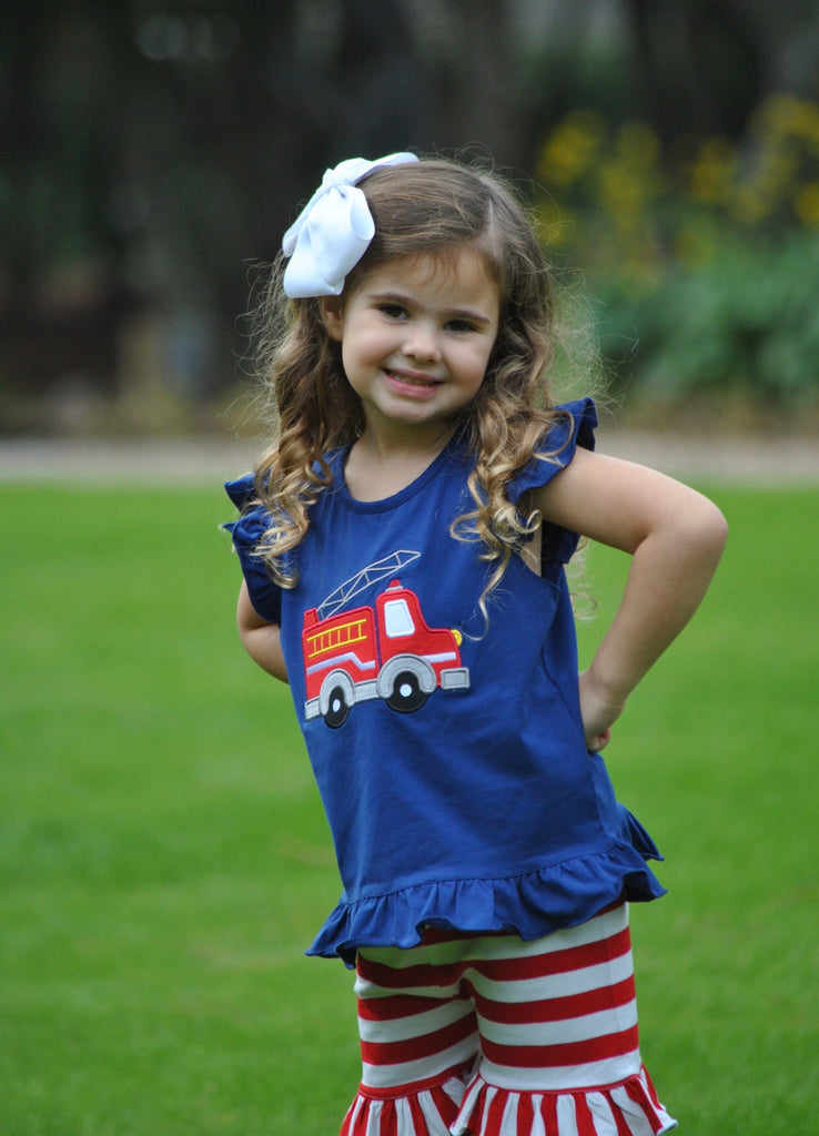 Navy Knit Monogrammable Firetruck Applique Angel Sleeve Top & Red Striped Knit Ruffle Shorts, Girls Applique Short Set, The Smocking Bug, The Smocking Bug