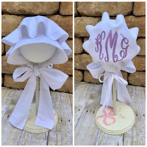 White Swiss Pin Dot Monogrammable Timeless Bonnet