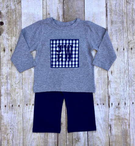 Boys Grey Shirt with Navy Checked Monogrammable Patch & Navy Pants