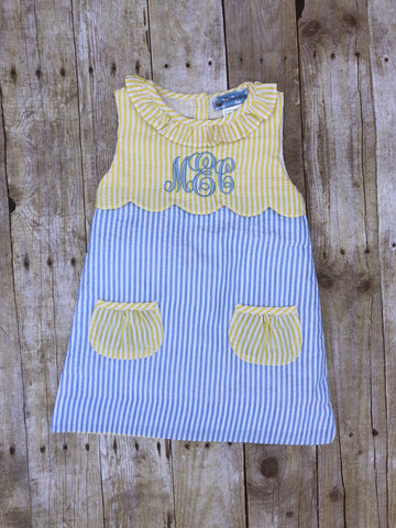 Monogrammable Pale Yellow/Blue Seersucker Pocket Dress