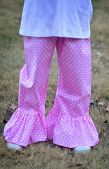 Bubblegum Pink Polka Dot Ruffle Pants, Girls Ruffle Pants, The Smocking Bug, The Smocking Bug