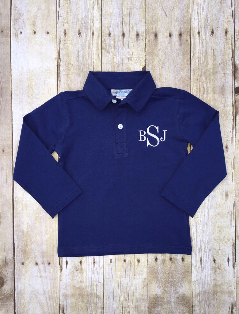 Knit Navy Monogrammable Long Sleeve Polo, Boys monogrammable shirt, The Smocking Bug, The Smocking Bug
