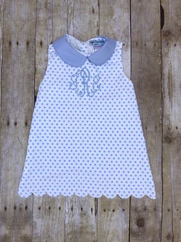 Monogrammable White with Blue Dots Peter Pan Collar Sleeveless Jumper