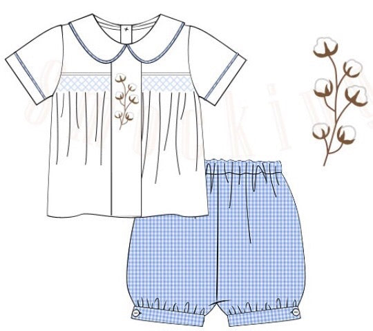 Blue Gingham Vintage Smocked & Embroidered Cotton Boys Banded Shorts Set, boys Banded Short Set, The Smocking Bug, The Smocking Bug