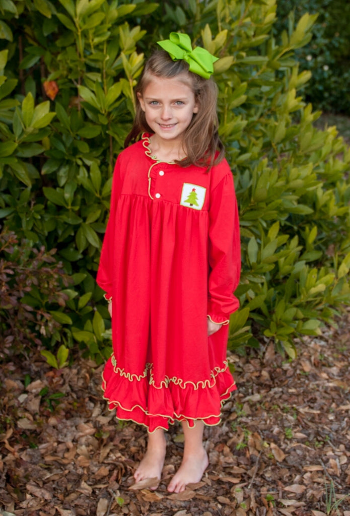 Girls Knit Red Ruffle Nightgown w/ Smocked Christmas Tree, Girls Smocked Nightgown, The Smocking Bug, The Smocking Bug
