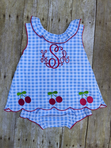 Knit Blue Gingham Monogrammable Machine Embroidered Cherries Ruffle Diaper Set
