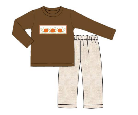 Boys Brown Shirt with Smocked Pumpkins Pant Set