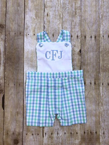 White Pique Monogrammable Cross Back Mint/Blue Plaid Jon Jon