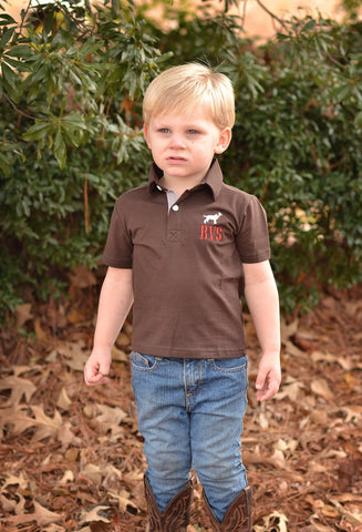 Brown Monogrammable Dog Polo Shirt