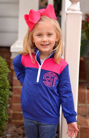 Navy Monogrammable Pullover w/ Hot Pink Patches