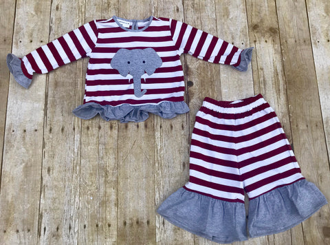 Girls Crimson Striped Knit Applique Elephant PJ Pants & Ruffle Cuff with Long Sleeve Shirt