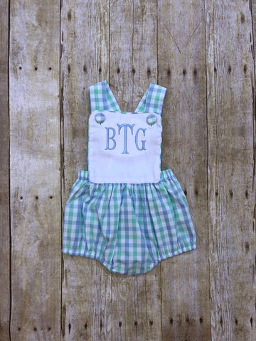 White Pique Monogrammable Cross Back Mint/Blue Plaid Boys Sun Bubble