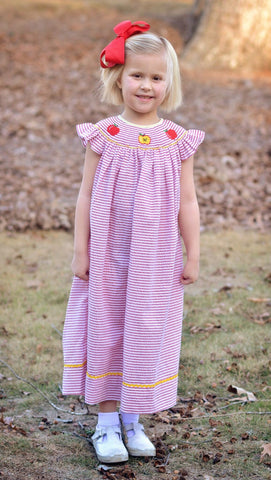Red Striped Smocked Apples Angel Sleeve Dress
