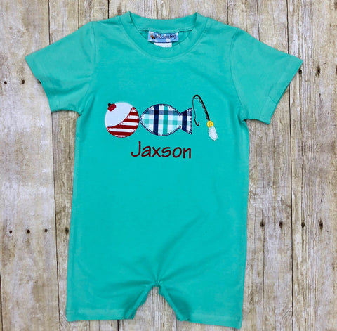 Boys Mint Knit Fishing Lure Monogrammable Romper