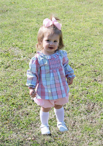 Girls Smocked Pretty Pink Plaid Top with Pink Bloomers