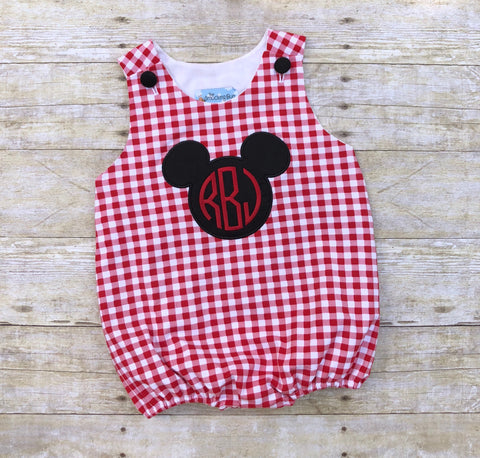 Boys Monogrammable Red Checked Knit Applique Mouse Ears Sun Bubble