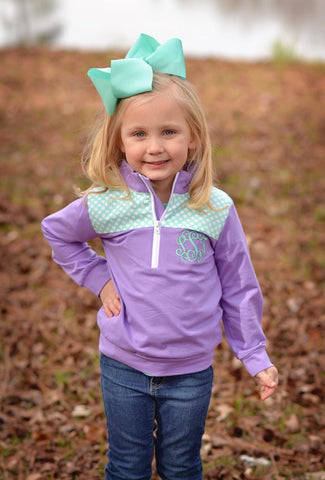 Lavender Monogrammable Pullover w/ Mint Polka Dot Patches