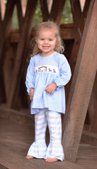 Girls Smocked Nativity Light Blue Knit Top With Striped Ruffle Pants