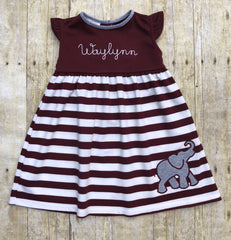 Knit Angel Sleeve Elephant Applique Dress