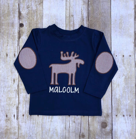 Boys Brown Knit Moose Applique Shirt with Elbow Patches