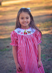 Red Gingham Smocked Farm Bishop Dress, Girls Smocked Bishop Dress, The Smocking Bug, The Smocking Bug