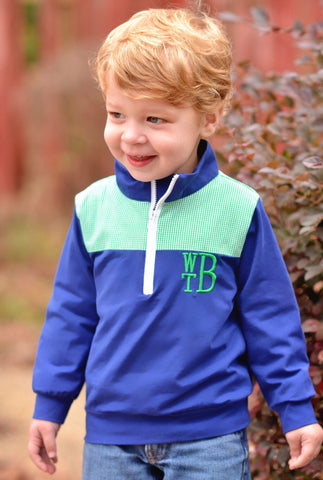 Navy Monogrammable Pullover w/ Green Gingham Patches