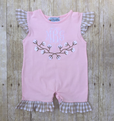 Pink Knit Monogrammable Cotton Frame Applique Romper w/ Khaki Gingham Ruffles
