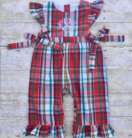 Girls Monogrammable Christmas Plaid Longall with Side Ties