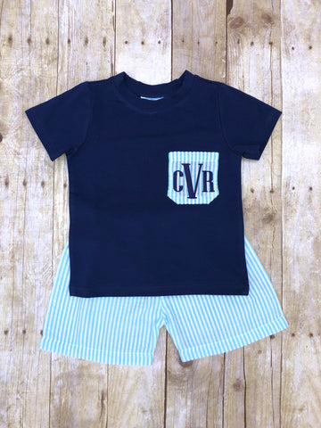 Boys Navy Monogrammable Pocket T-shirt & Aqua Seersucker Shorts Set