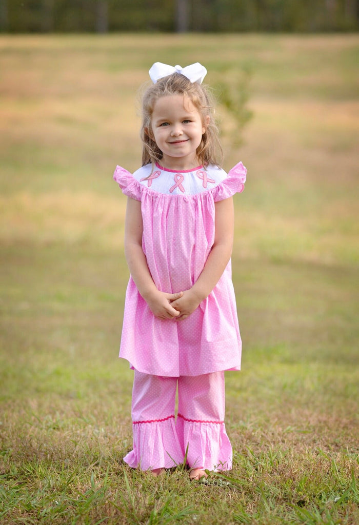 Pink Bitty Dot Smocked Fight For A Cure Angel Sleeve Smocked Pants Set, Girls Smocked Ruffle Pants Set, The Smocking Bug, The Smocking Bug