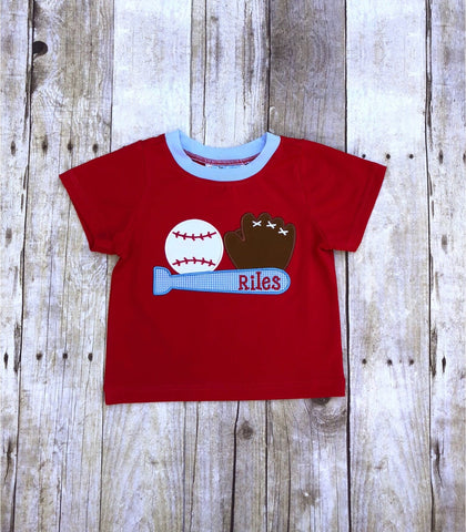 Boys Monogrammable Red Knit Baseball Applique Shirt Only