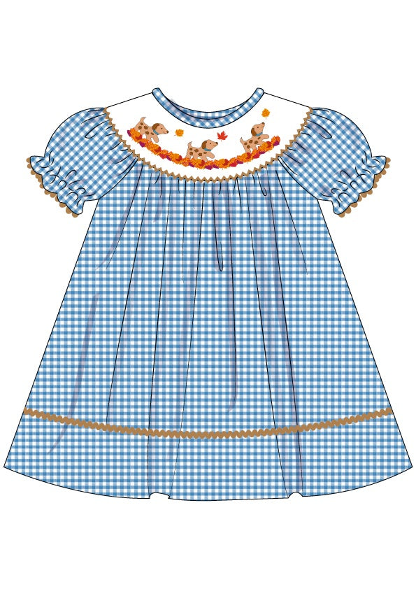 Girls Smocked Puppies Bishop Dress