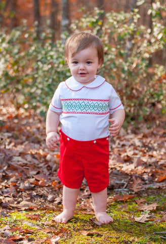 White Short Sleeved Geo Smocked Christmas Bobby Suit