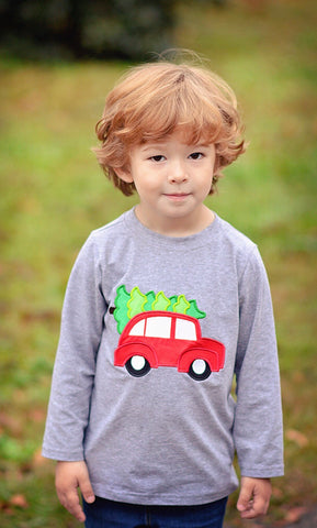 Monogrammable Boys Applique Tree on Car Grey Shirt Only
