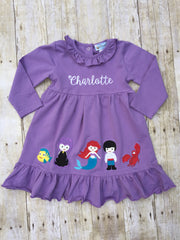 Lavendar Knit Monogrammable Under the Sea Ruffle Dress