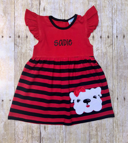 Girls Monogrammable Red & Black Applique Bulldog Angel Sleeve Dress