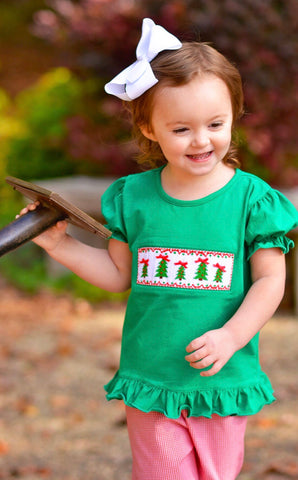 Girls Green Smocked Christmas Trees Shirt & Red Gingham Ruffle Pants