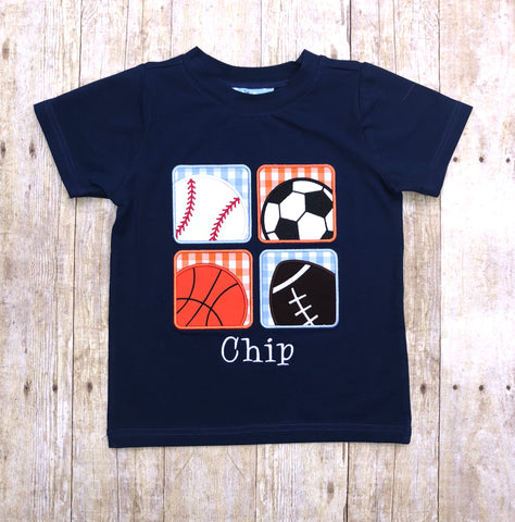 Navy Knit Square Sports Applique Shirt
