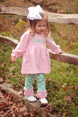 Light Pink Monogrammable Tunic Top with Mint Polka Dot Ruffle Leggings