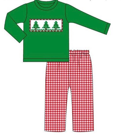 Smocked Christmas Trees Pants Set