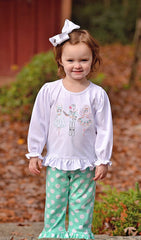 Monogrammable Purple Tunic Top & Nutcracker Shirt  W/ Mint Polka Dot Ruffle Pants 2 in 1 Set, Girls Knit Pants Set, The Smocking Bug, The Smocking Bug
