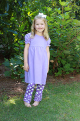 Monogrammable Lavender Knit Tunic Top w/ Lavender Polka Dot Knit Ruffle Pants, Girls Knit Pants Set, The Smocking Bug, The Smocking Bug