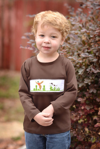 Brown Smocked Bird Hunting Shirt