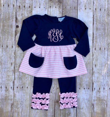 Girls Monogrammable Navy & Pink Striped Top with Pockets & Ruffle Leggings Set